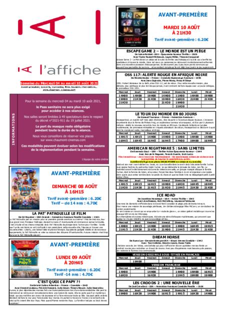 PROGRAMMATION DE LA SEMAINE DU 04 AU 10 AOÛT 2021