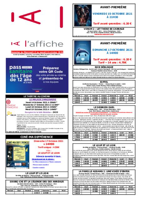 PROGRAMMATION DE LA SEMAINE DU 13 AU 19 OCTOBRE 2021