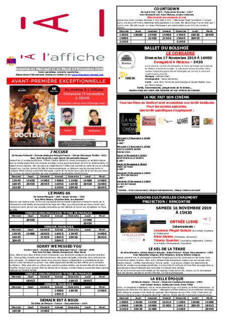 PROGRAMMATION DE LA SEMAINE DU 13 AU 19 NOVEMBRE 2019