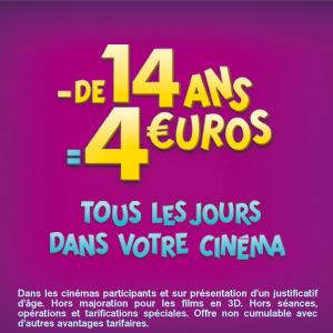 4 EUROS EN 2014 POUR LES - DE 14 ANS